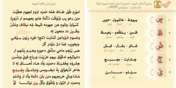 نموذج لنص مهري مكتوب بالأبجدية العربية في محاولة من قبل احدهم لإضافة وإقتراح خمسة رموز للخمسة حروف الخاصة بالمهرية.