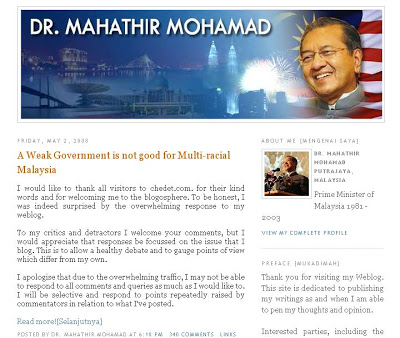Mahathir Mohamad Blog Chedet