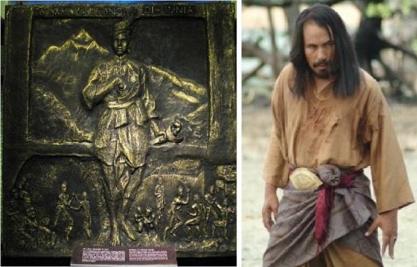 صورة من فيلم لهانق تواه (يمين) وجدارية في المتحف الوطني (يسار)