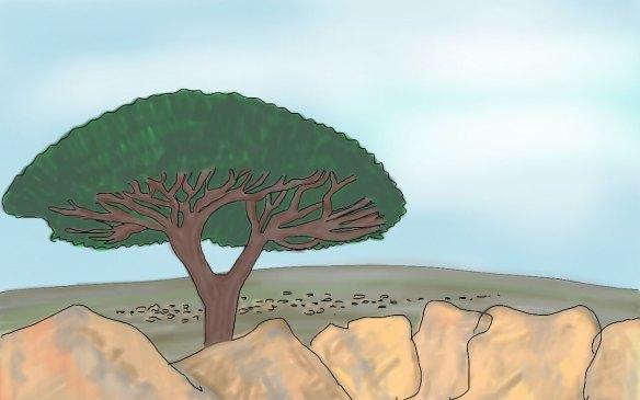 """عمل فني بعنوان """" شجرة دم التنين"""" بريشة فنان إنجليزي."""